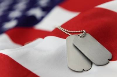 Flag and Blank dog tags